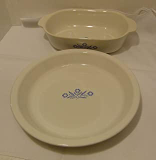 Corningware Cornflower Blue Set of 2 Pieces: 60th Anniversary 1.5 QT Casserole Baker and Round 9 Inch Pie Dish