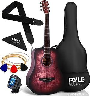 """Pyle, Acoustic Guitar Starter Pack-34"""" ½ Junior Size 6 Linden Wood Red Burst Design w/Accessories Case Bag Steel Strings, ..."""