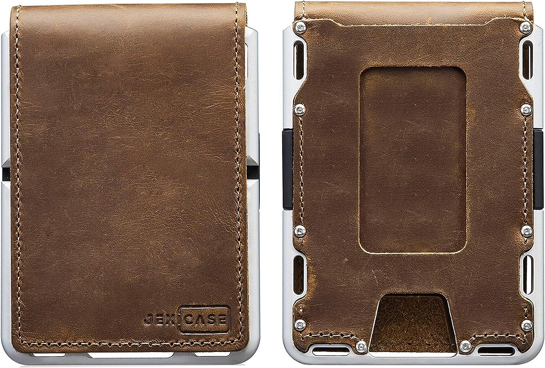 Dapper Leather Money Clip Wallet for Men– JEXICASE Slim Wallet for men RFID Blocking Card Holder Minimalist Bifold Wallet (Bifold - Brown leather/Gray Aluminum)
