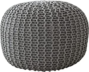 "Cheer Collection 18"" Round Pouf Ottoman - Chunky Hand-Knit Decorative and Comfortable Foot Rest, Gray"