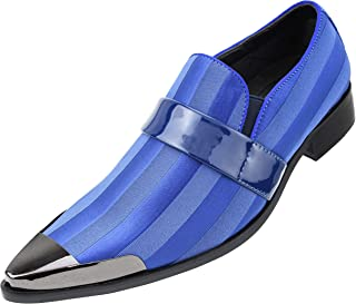 The Original Men's Satin Slip On Loafer with a Patent Strap Across The Vamp and a Gun Metal Tip Dress Shoe, Style Osco