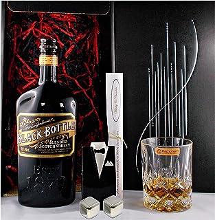 Geschenk Black Bottle Scotch Whisky  1 Glas  2 Whiskey Kühlsteine