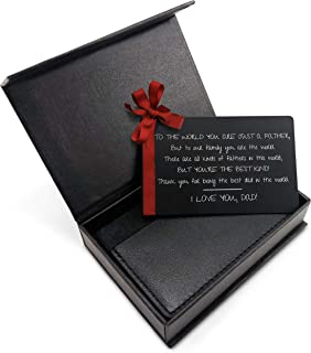 """MANA'O Metal Wallet Card For Dad """"Best Dad Ever"""" Engraved Wallet Insert for Dads, Father, Daddy - Perfect Gift for Fathers Day, Fathers Birthday, Best Birthday Gifts for Dad from Daughter, Son - S-3"""