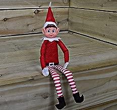 eBuyGB 2 x Navidad Elf Suave Juguete Smiley Cara Sentado en Estante, plástico, Fieltro, Rojo