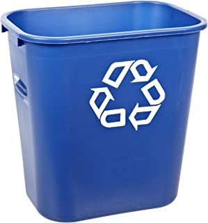Rubbermaid Commercial FG295673 Blue Medium Deskside Recycling Container with Universal Recycle Symbol, 28-1/8 qt Capacity, 14.4