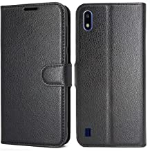 LUKENXY Case for Samsung Galaxy A10, Premium Leather Wallet Flip Case with Kickstand and Credit Slots, for Samsung Galaxy A10 (Black)