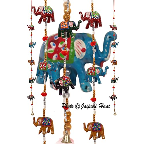 URBAN HAAT Jaipuri Haat Rajasthani Elephant Door Hanging for Home Decor, Multicolour -Set of 2