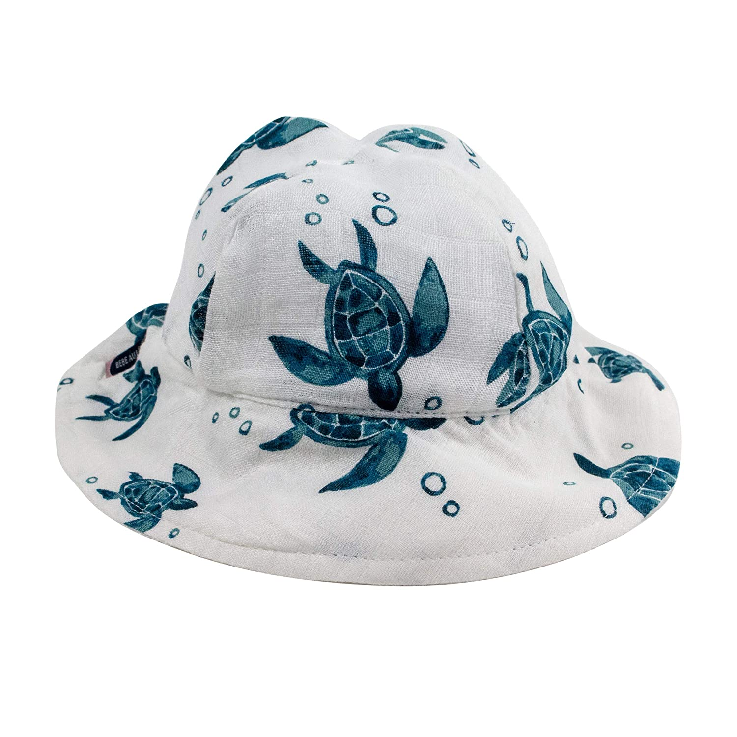 Bebe au Lait Oh-So-Soft Muslin Sun Hat, Sea Turtles, Blue and White, 0-12 Month