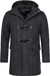 Indicode Uomo Liam Montgomery con Colletto Alto E Cappuccio | Moderno Cappotto di Lana con 5 Borse Caldo Cappotto Invernal...
