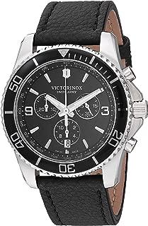 Men's Stainless Steel Swiss Quartz Sport Watch with Leather Strap, Black, 21.6 (Model: 241864)