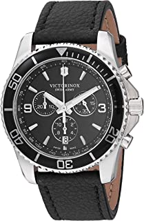 Victorinox Men's Stainless Steel Swiss Quartz Sport Watch with Leather Strap, Black, 21.6 (Model: 241864)
