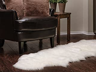 Chanasya Faux Fur Fake Sheepskin White Cover Rug/Solid Shaggy Area Rugs for Living Bedroom Floor - Off White 2ft x 6ft