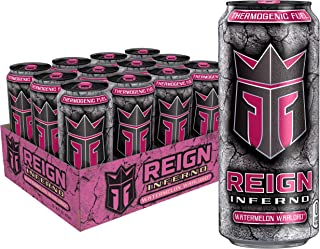 Reign Inferno Thermogenic Fuel, Fitness & Performance Drink, Watermelon Warlord, 16 Fl Oz (Pack of 12), 192 Fl Oz