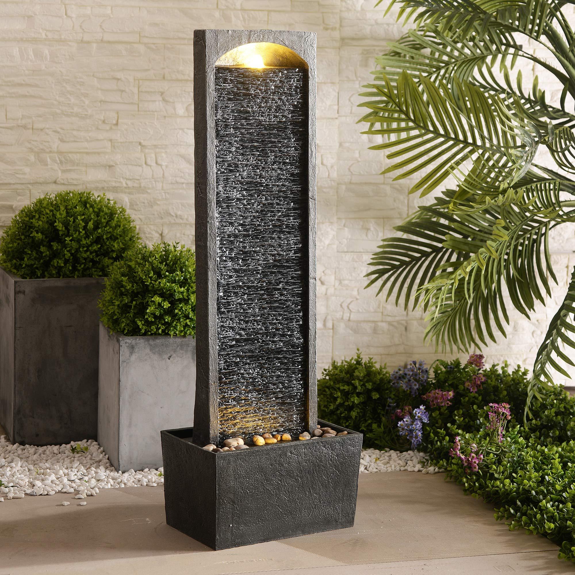 Peaktop Derecho Fuentes para jardín, Gris carbón: Amazon.es: Jardín