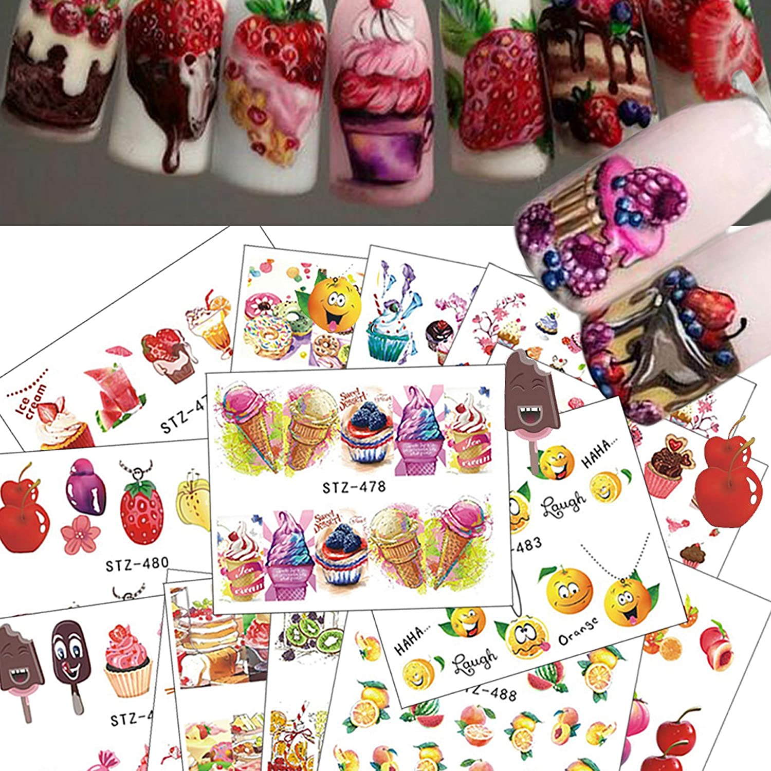 NAIL ANGEL 18 quality assurance Sheets Nail Art Ice Water Decals Cupcake Super sale period limited Ice-Cream