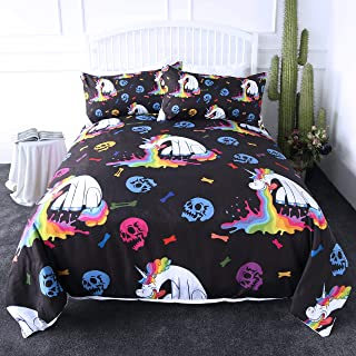 ARIGHTEX Kawaii Beast Bedding Funny Rainbow Pouring Design Bed Set 3 Pieces Black Chic Skull Duvet Cover for Kids Boys (Twin)