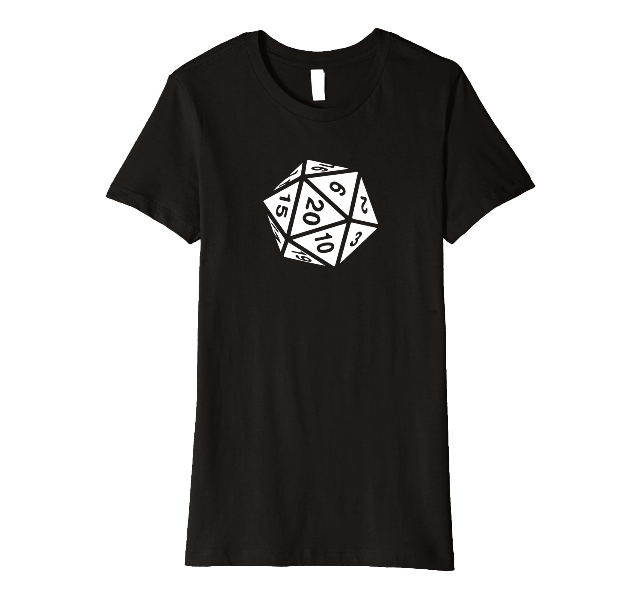 94f2a9db5 Amazon.com: RPG Dice Shirt d20 | White Design: Clothing