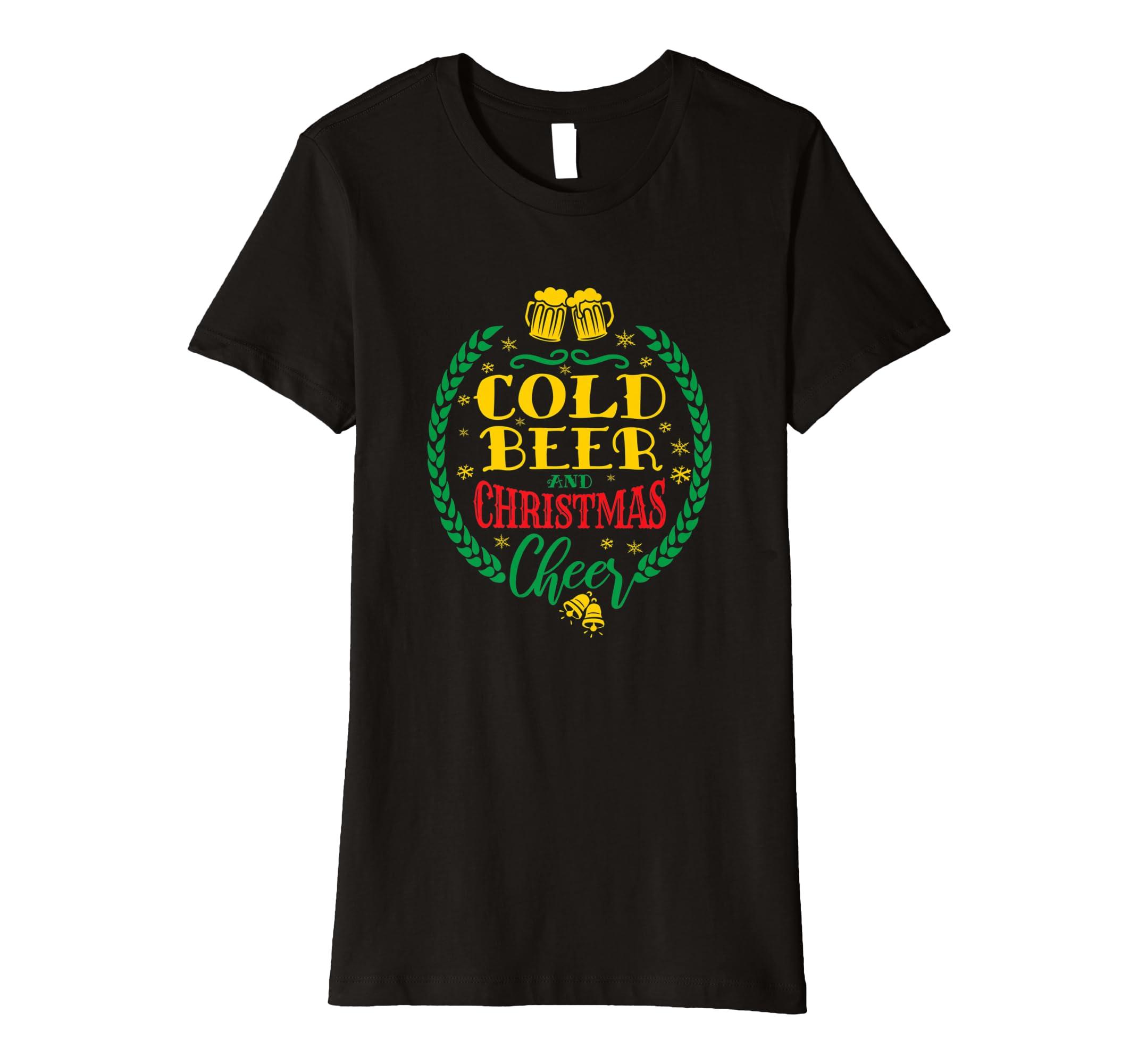 de903b2842 Amazon.com: Cold Beer Christmas Cheer T-Shirt Awesome Christmas Tee:  Clothing