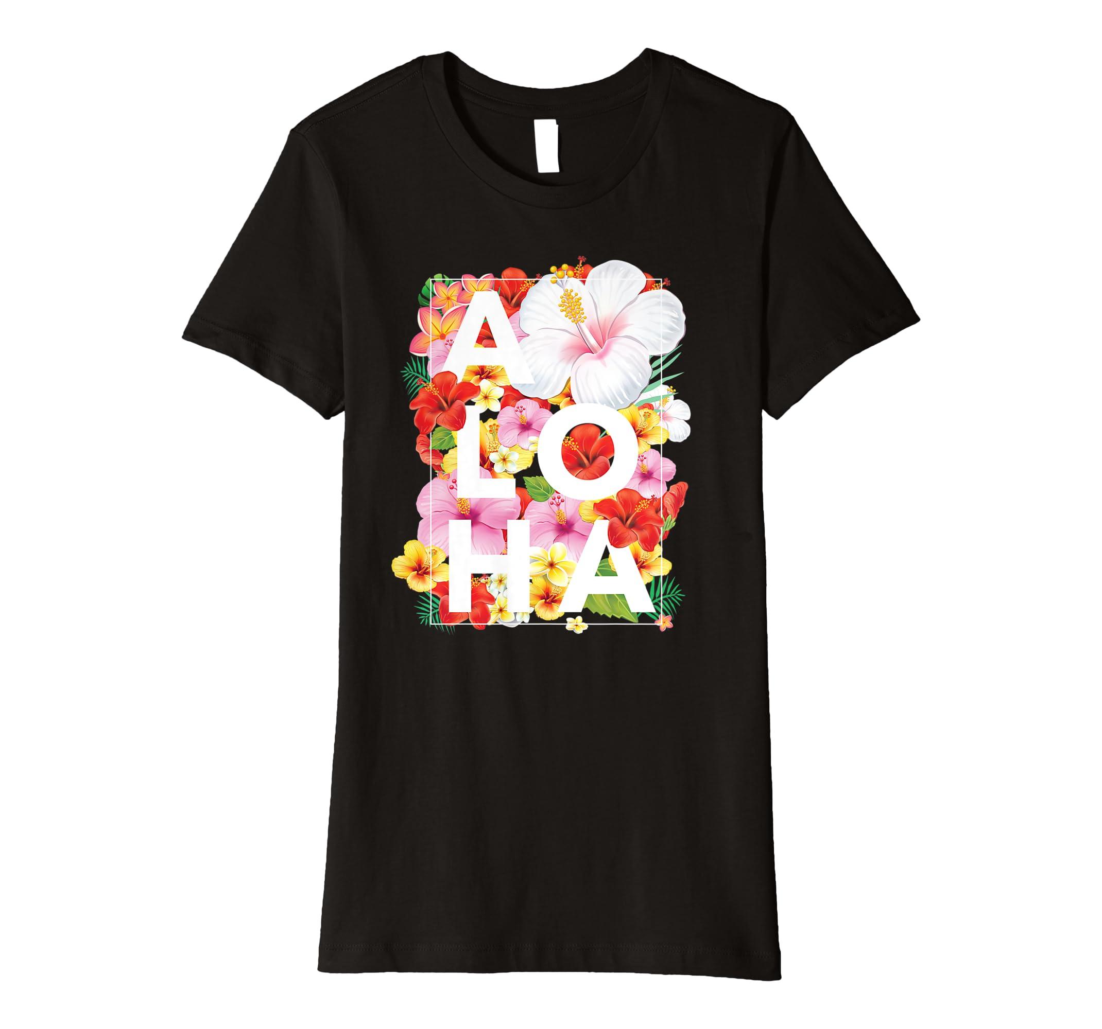 ead6b3a4f135 Amazon.com: Large Floral Flower Aloha Hawaii T-Shirt: Clothing