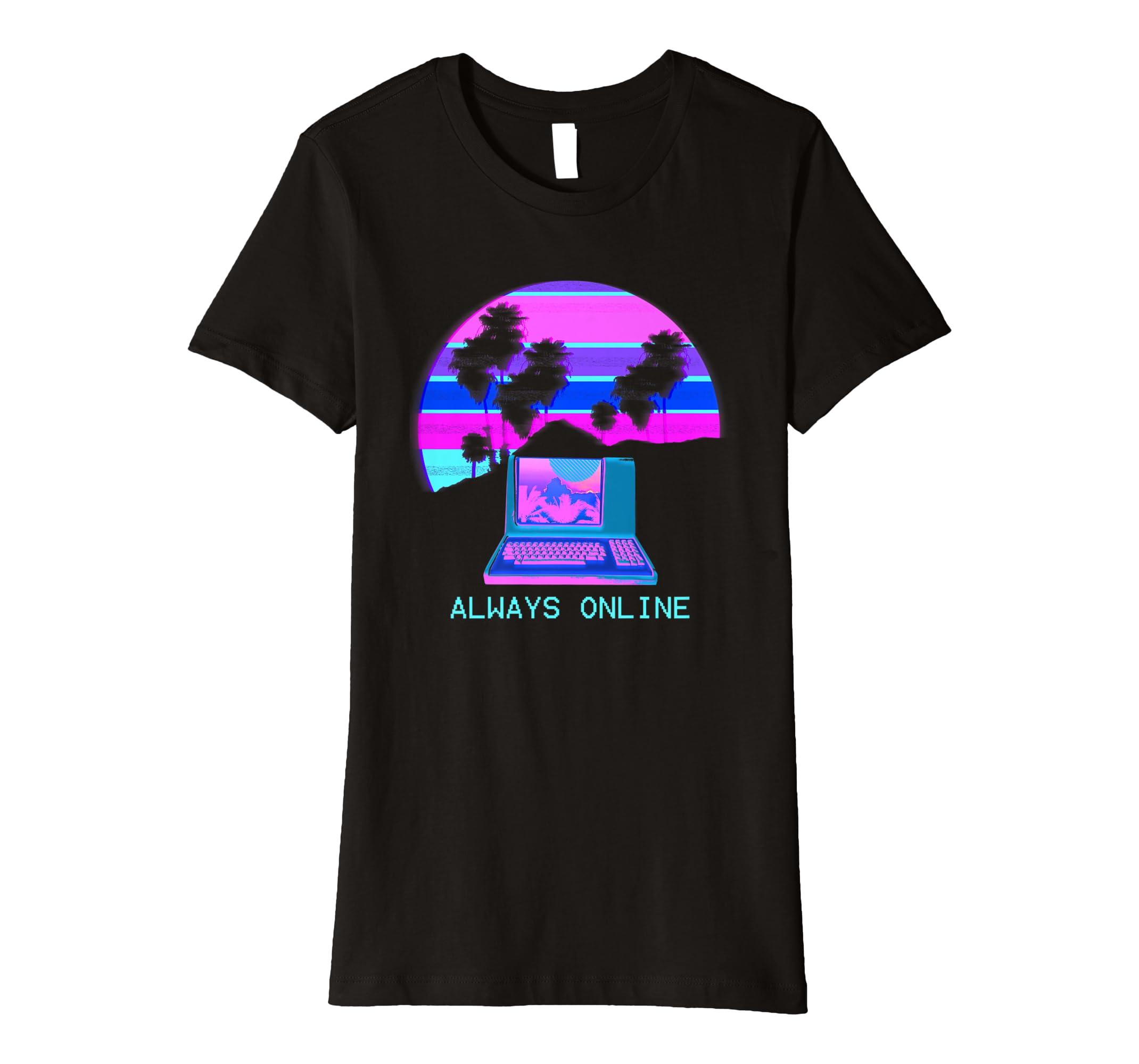 94ef03d9aa91f Vaporwave Vintage Computer TShirt Always Online Sunset  Amazon.co.uk   Clothing