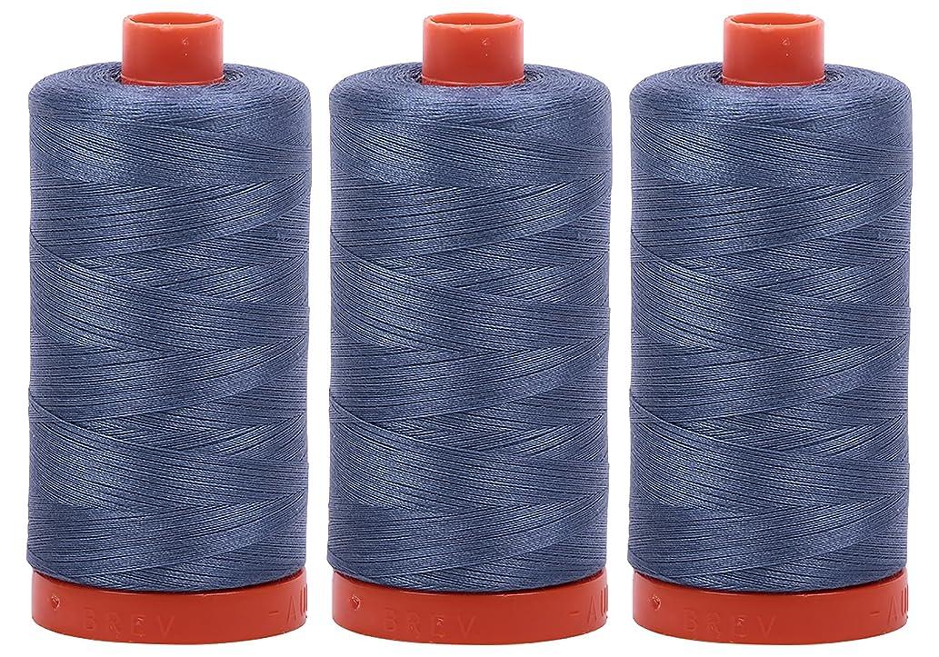 Bundle of 3 Large 1422 Yard Spools of Aurifil 50wt Egyptian Cotton Thread, Color: Dark Grey Blue, No. A1050-1248