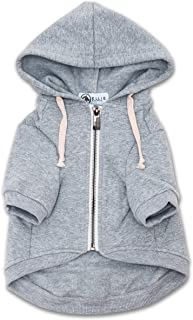 Ellie Dog Wear Zip Up Adventure Light Grey Dog Hoodie with Hook & Loop Pockets and Adjustable Drawstring Hood - Available in Extra Small to Extra Large. Comfortable & Versatile Dog Hoodies