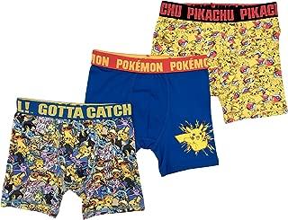 Pokemon Boys' 3-Pack Athletic Boxer Brief Underwear
