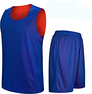 Men's Customize Basketball Uniform Set Reversible Mesh Polyester Tank Jersey Quick-Dry Breathable Basketball Shirts Blue and Orange