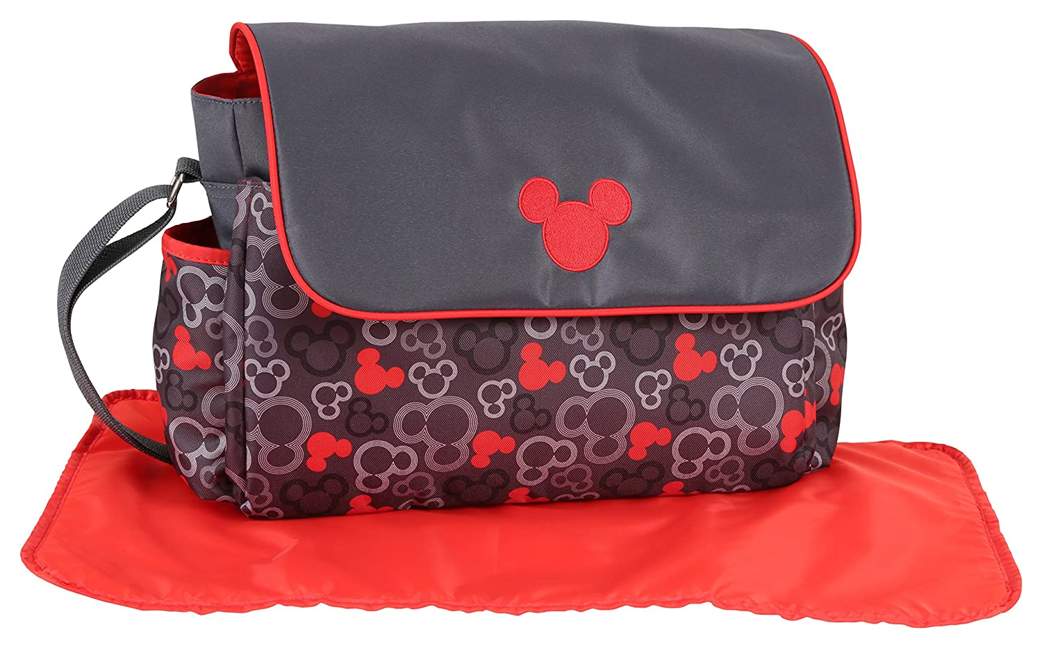 Disney Mickey Mouse Diaper Bag with Flap, Icon Print, Grey/Red