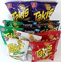 TAKIS 12 PACK, 2 TAKIS FUEGO 9.9OZ, 2 TAKIS FAJITAS 4OZ, 2 TAKIS NITRO 4OZ, 2 TAKIS GUACAMOLE 4OZ, 2 CHURRITOS STIX FUEGO 4OZ, AND 2 LIMITED EDITION 4OZ (12 BAGS INCLUDED)