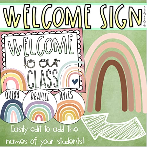 Welcome To Our Classroom Door Sign Boho Rainbow Theme Editable