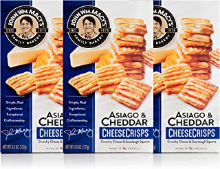 John Wm. Macy's CheeseCrisps, Asiago & Cheddar, 4.5 Ounce Box, Pack of 3