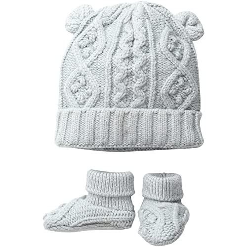 Toby   Company Baby Nygb Cable Knit Hat   Booties Set e38141ad6445