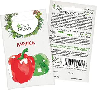 Premium Paprika Samen Capsicum annuum, Gemüsepaprika Samen - Sorte Yolo Wonder - zum Anbau im Garten und auf dem Balkon, für ca. 50 Paprika Pflanzen - Paprika Saatgut von OwnGrown