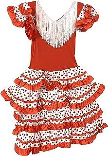 Vestido Flamenco Disfraz Sevillanas Rosa Rojo Topos Niño Niña