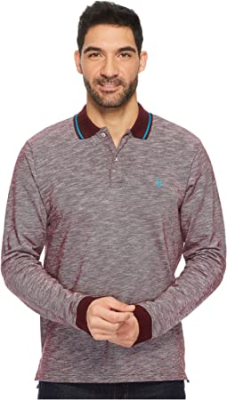 Classic Fit Solid Long Sleeve Pique Polo Shirt