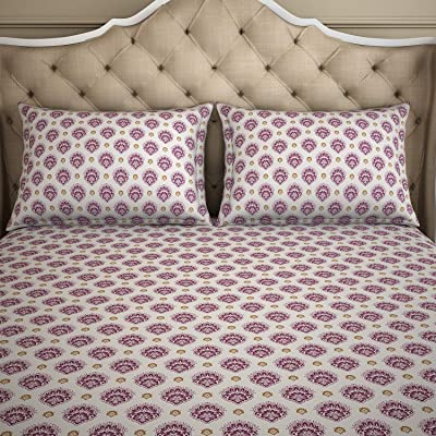 Welspun 2-in-1 Purple & Blue Reversible 1 Double Bed Sheet with 2 Pillow Covers
