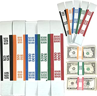Money Bands Currency Sleeves Straps – Made in USA (Pack of 5000) Self-Adhesive Assorted Money Wrappers for Bills Color Coded Wraps Meets ABA Standards, 7.5 x 1.25 inches – Counter Recyclable Kraft Pap