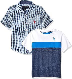 U.S. POLO ASSN. boys Short Sleeve Woven Shirt and T-Shirt Set Button Down Shirt