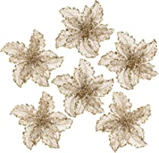 iPEGTOP 10.2 Inch Glitter Poinsettia Christmas Flowers with Metal Clip Christmas Tree Ornaments Artifical Wedding Holiday Decorations 6 Pack (Gold)