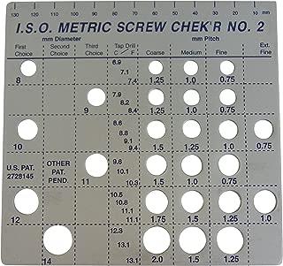 Screw Chek'r Metric Screw Thread Size Gauge No. 2 (8MM to 14MM) 1/8 Inch Heavy Gauge Steel Screw Checker, Made In USA, chrome, 02130