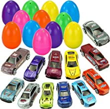 """JOYIN 12 Die-Cast Car Filled Big Easter Eggs, 3.2"""" Bright Colorful Prefilled Plastic Easter Eggs with Different Die-cast Cars"""