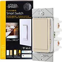 myTouchSmart 49066 GE WiFi Smart Light Switch, Works with Alexa, Google Assistant, 2.4GHz Single Pole/3-Way Ready, Neutral Wire Required No Hub Needed, Ivory