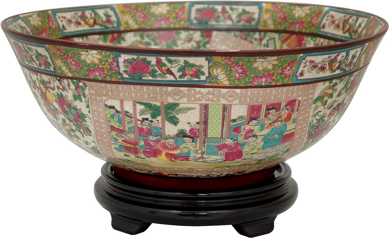 Oriental Furniture 14  pink Medallion Porcelain Bowl