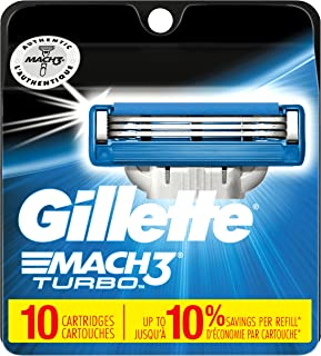 Gillette Mach3 Turbo Men's Razor Blade Refills, 10 Count, Mens Razors / Blades