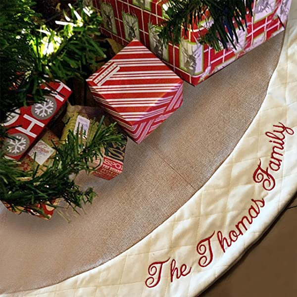 Custom Embroidered Burlap Tree Skirt Fleece Stitch Border Bonus Frosted Zip Storage Bag Put Family Name Or Any Text Under The Christmas Tree Create Memories 48 Inch Diameter Xmas Gift