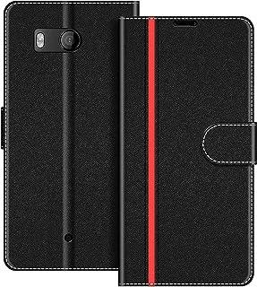 COODIO Funda HTC U11 con Tapa, Funda Movil HTC U11, Funda Libro HTC U11 Carcasa Magnético Funda para HTC U11, Negro/Rojo