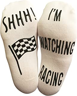 """SHHH I'm Watching Racing"" جوراب مچ پا خنده دار - هدیه ای عالی برای طرفداران مسابقه موتورسواری"
