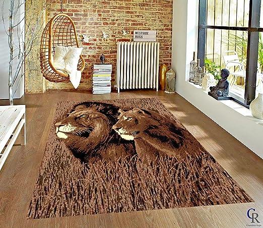 Amazon Com Safari Lion And Lioness Modern Animal Print African Theme Area Rug 5 3 X 7 5 Garden Outdoor