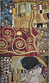 Elements to a Kiss by Gustav Klimt | Woven Tapestry Wall Art Hanging | Vertical Abstract Contemporary Romantic Art Nouveau | 100% Cotton USA Size 59x34